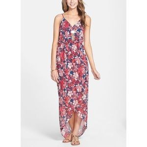 Lush Floral High-Low Tulip Hem Maxi Dress